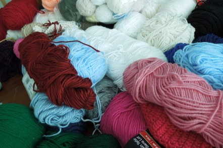 Mound of Yarn for numerous projects at Grace Elizabeth's