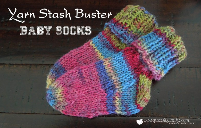 Free Knitting Patterns For Leftover Sock Yarn : Yarn Stash Buster: Baby Socks - Grace Elizabeths