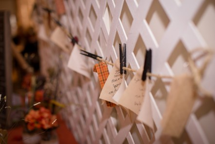 Wedding reception decoration with guestbook quilt by Grace Elizabeth's