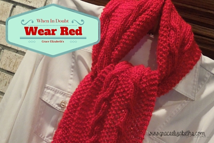 Wear Red Reversible Cable Scarf Pattern by Grace Elizabeth's