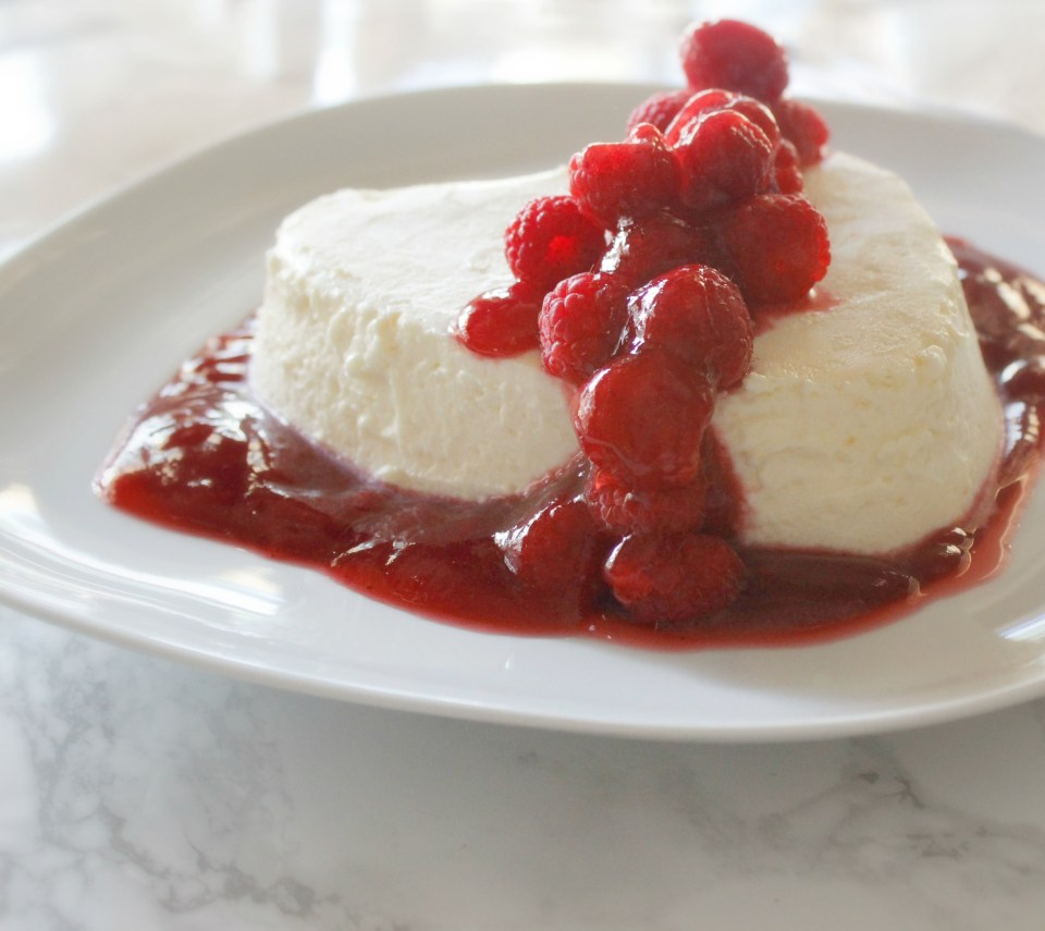 Coeur a la Creme with Raspberry Sauce