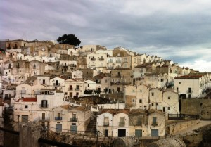 Little houses set against the hills of Monte Sant'Angelo.
