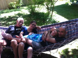 My Brazilian family enjoying QT in the hammock on Father's Day