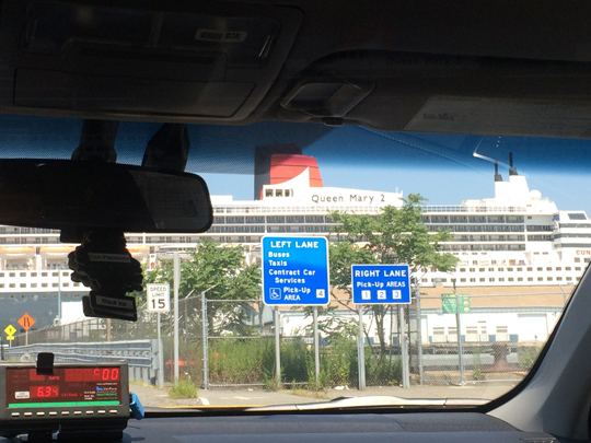 view of the ship from the taxi!