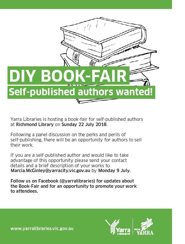 DIY Book Fair \u2013 22 July 2018 Graeme Sparkes - self published author