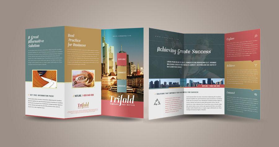 three folded brochure