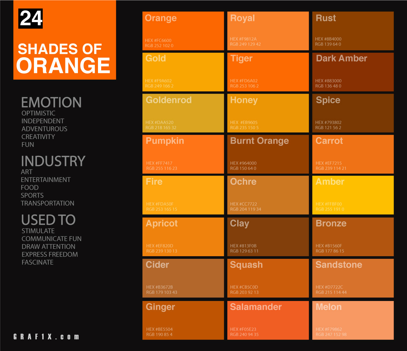 24 Shades Of Orange Color Palette Graf1x Com