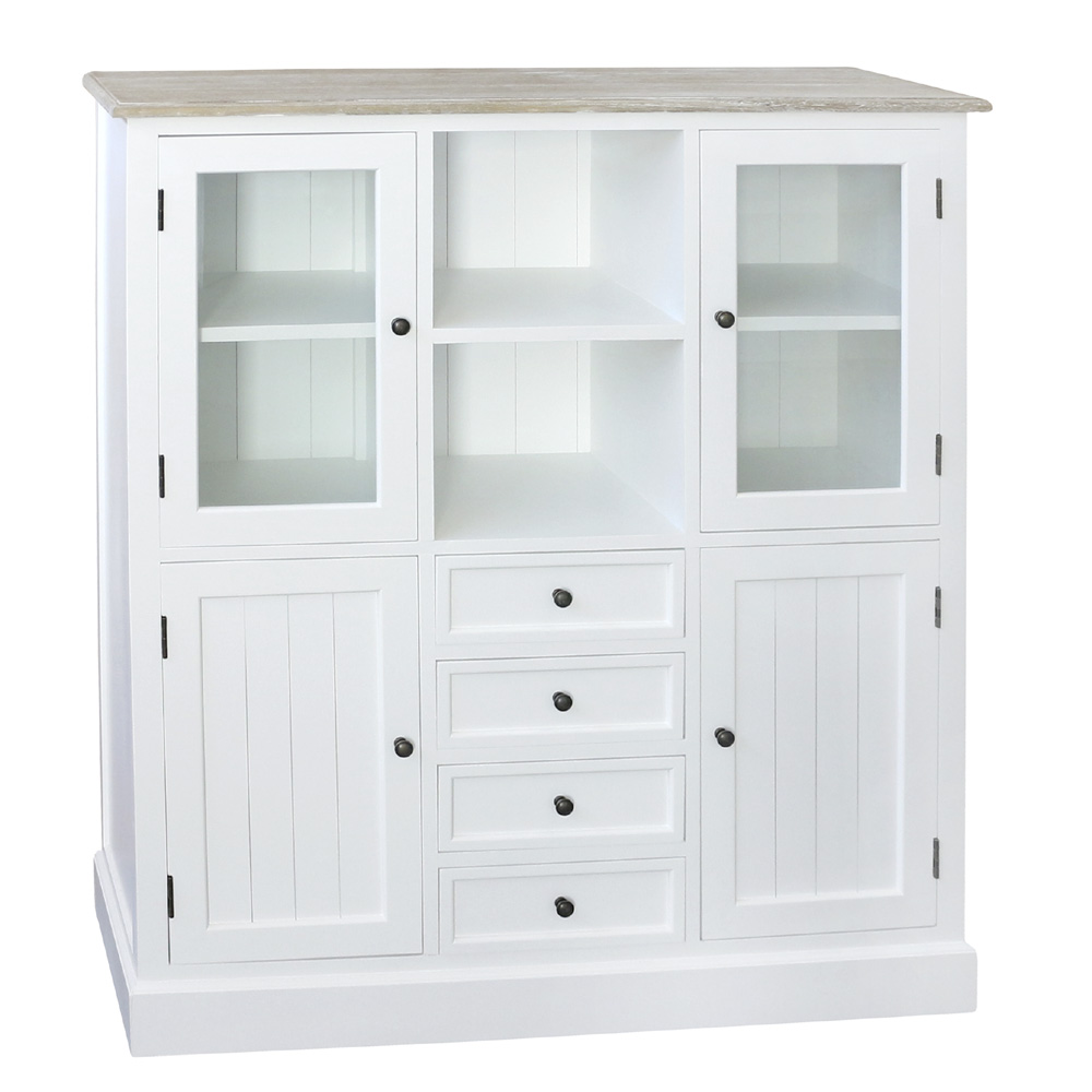 Highboard Landhaus Highboard Harbour Weiß Braun Schrank Kommode Im Hamptons Chic Long Island | Ebay