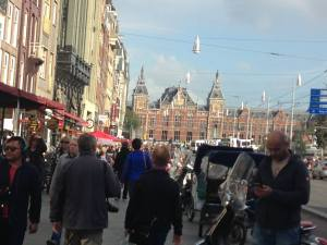 Crowded public street in Amsterdam...part of the daily routine