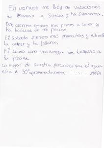 Escritura niña de 10 años con una disgrafía moderada.
