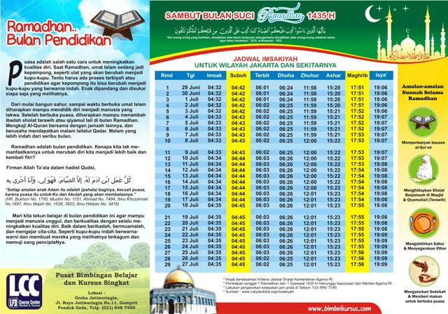 Lowongan Bimbel Di Bekasi 2013 Ngantor Jadwal Imsakiyah Ramadhan 1435 H 2014 M Silahkan Download Lp3i