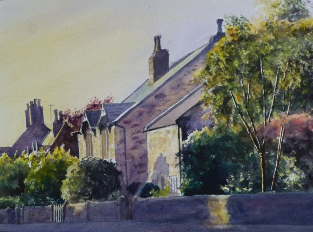 Trees And Chimney Pots In Little Crosby Watercolour