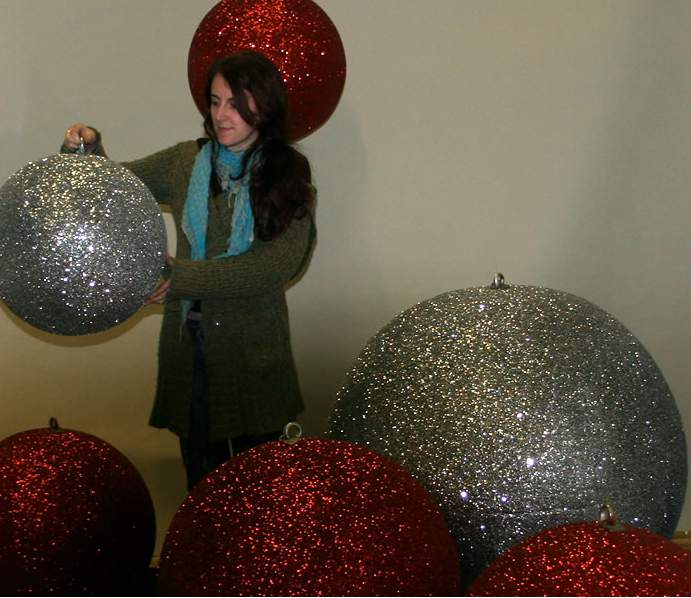Outdoor Shop Christmas Display Baubles, Giant - Medium And Small