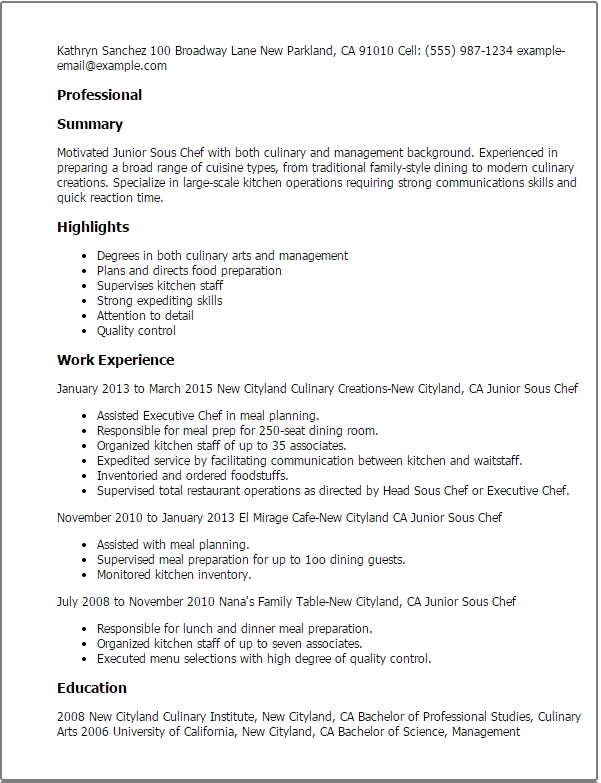 Culinary Resume Templates \u2013 Graduate Jobs  Internships  Careers