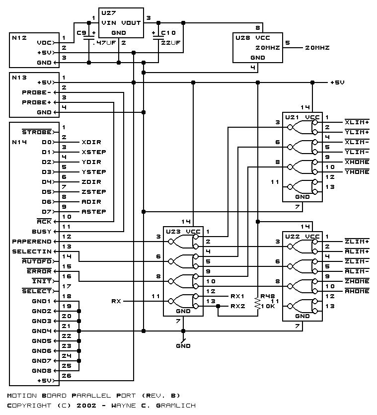 the parallel port schematic is shown below the serial port schematic