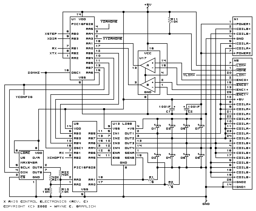 the parallel port schematic is shown below the serial port schematic