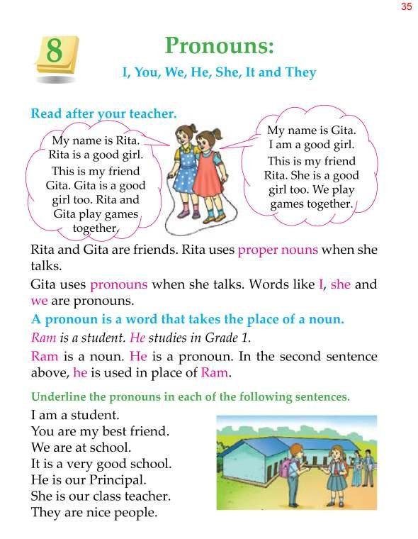 Good Grammar » 1st Grade Grammar Pronouns 3