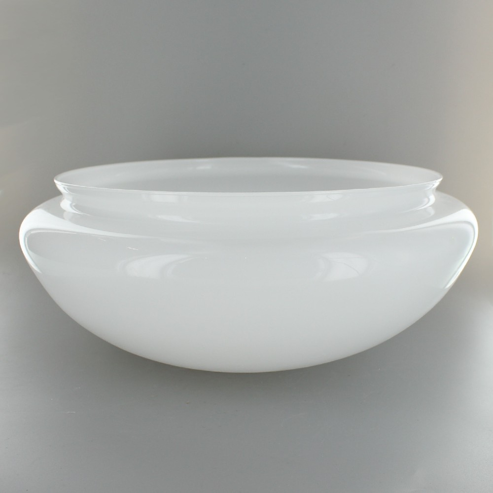 Glass Lamp Bowl White Glass Mushroom Shade With 10in Neck