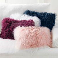 Mongolian Sheep Fur Throw Pillows   Grandin Road