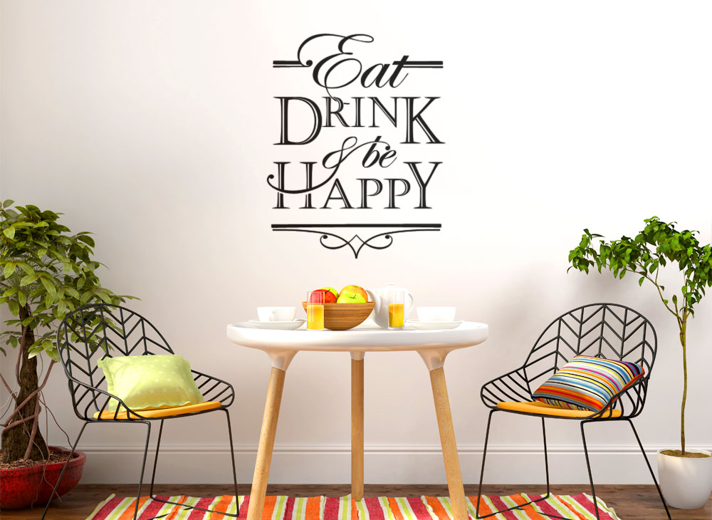 Wandtattoo Spruch Eat Drink Be Happy W5400 Sprüche