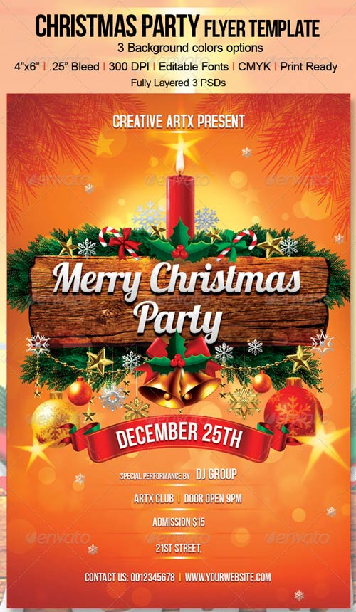 GraphicRiver Christmas Party Flyer Template 3332518