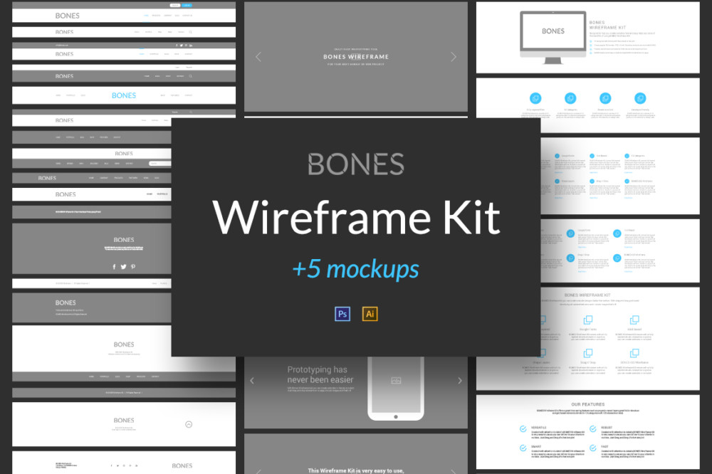 15+ Best Website and App Wireframe Templates - Graphic Cloud