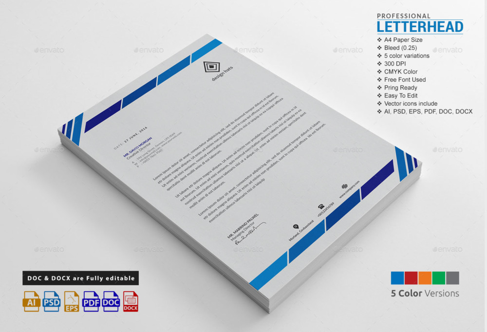 15+ Creative Professional Letterhead Template Word - Graphic Cloud