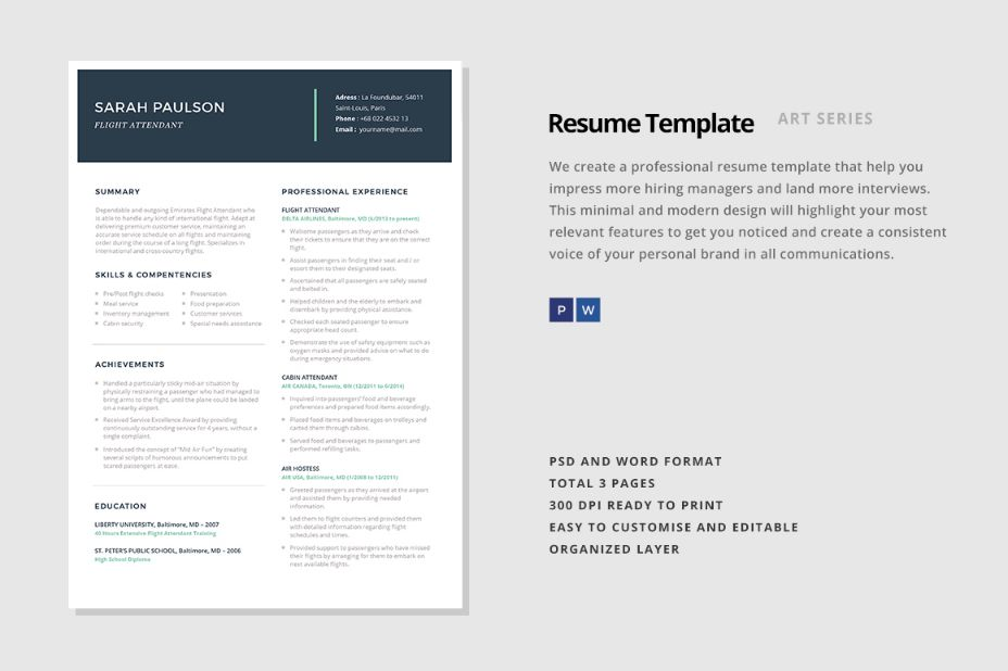 Consulting Resume Template Word, PSD and InDesign Format - Graphic Cloud