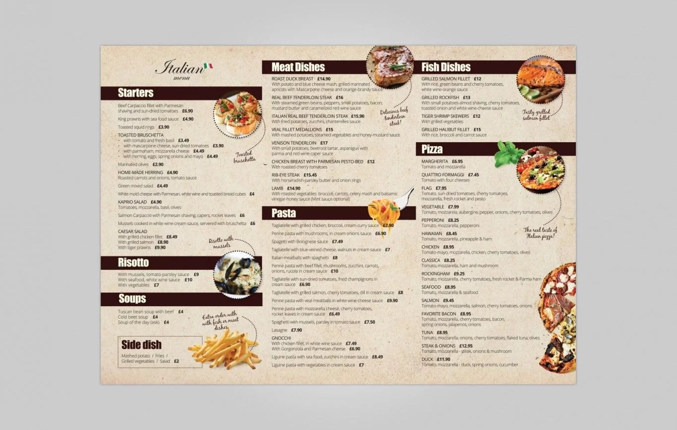 Italian Take Away Menu Takeaway Menu Design For Italian Restaurant