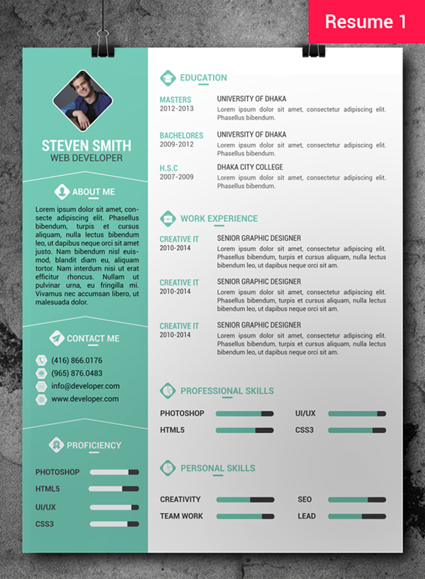 template cv gratuit photoshop