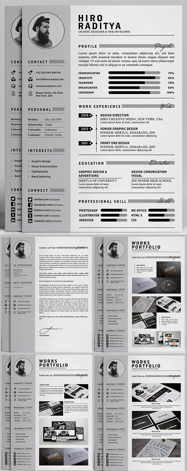 resume cv template psd download