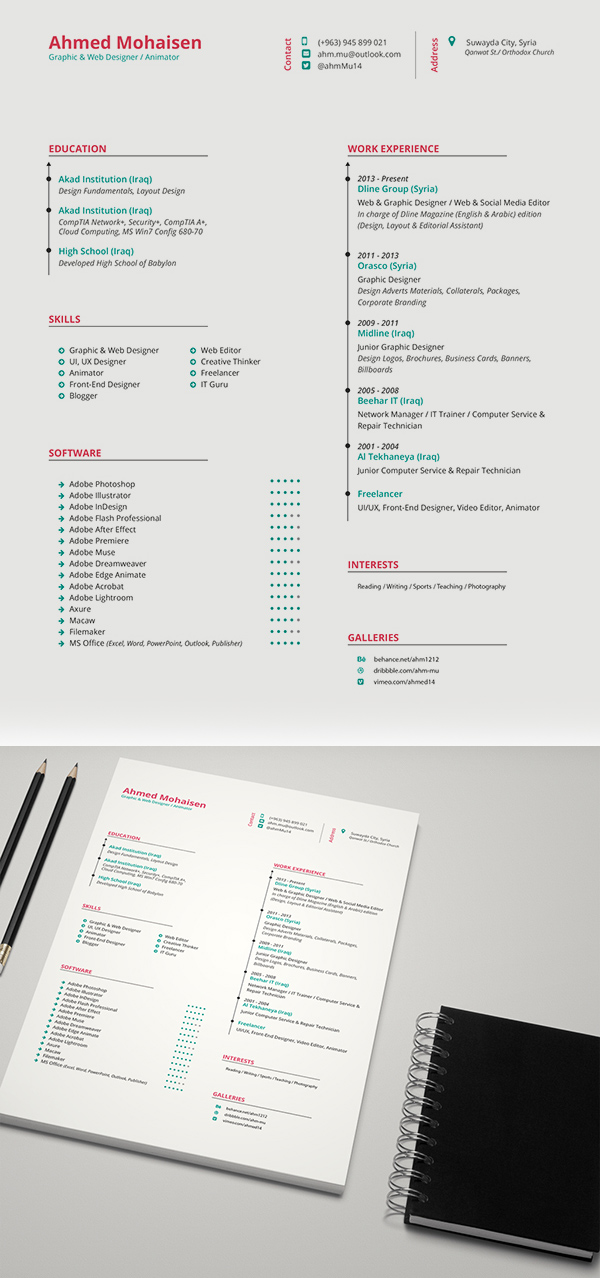 cv pages template free