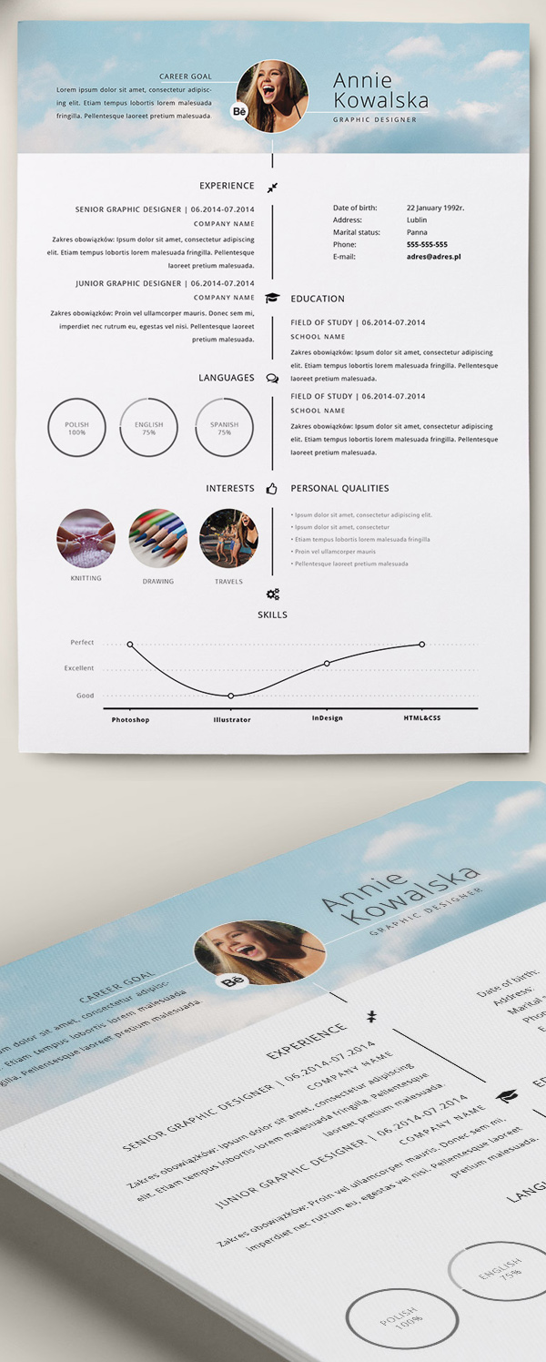 indesign template cv free