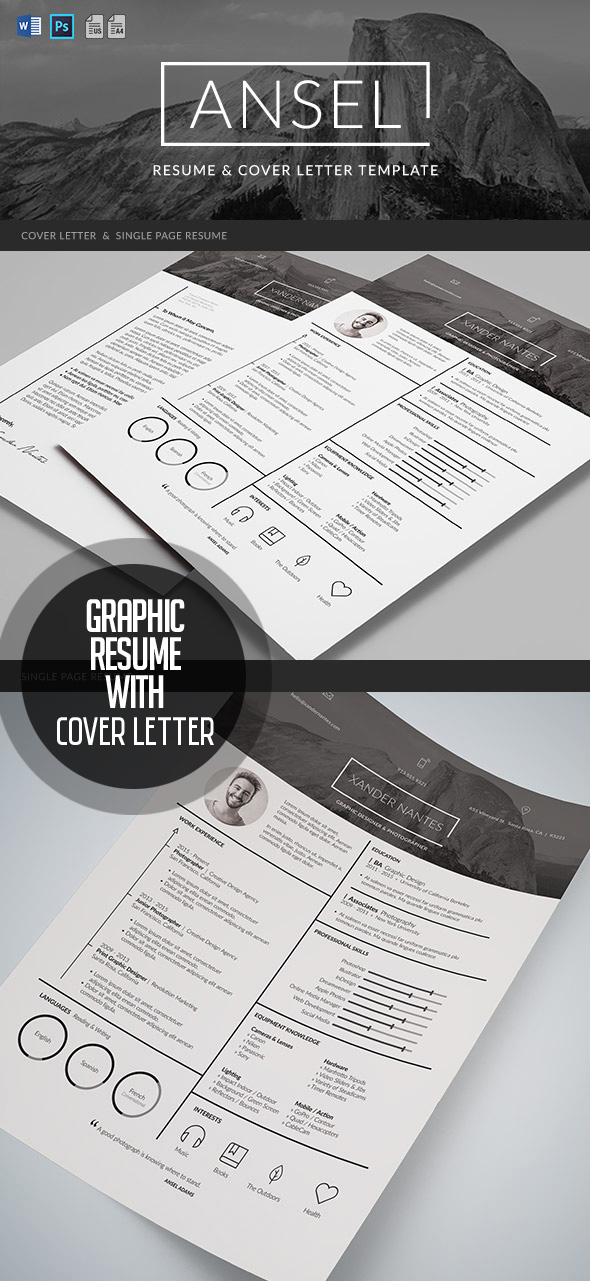 ansel   resume and cover letter template