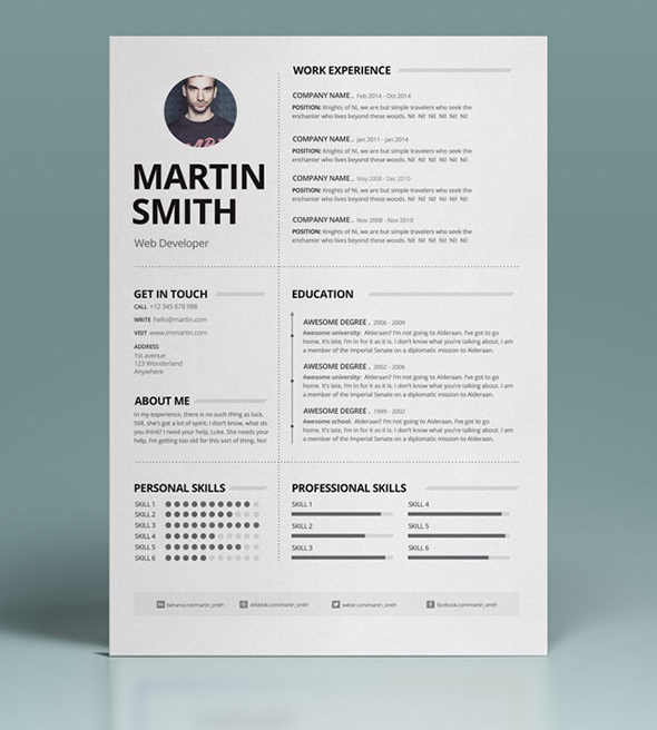 free minimalist and clean resume template