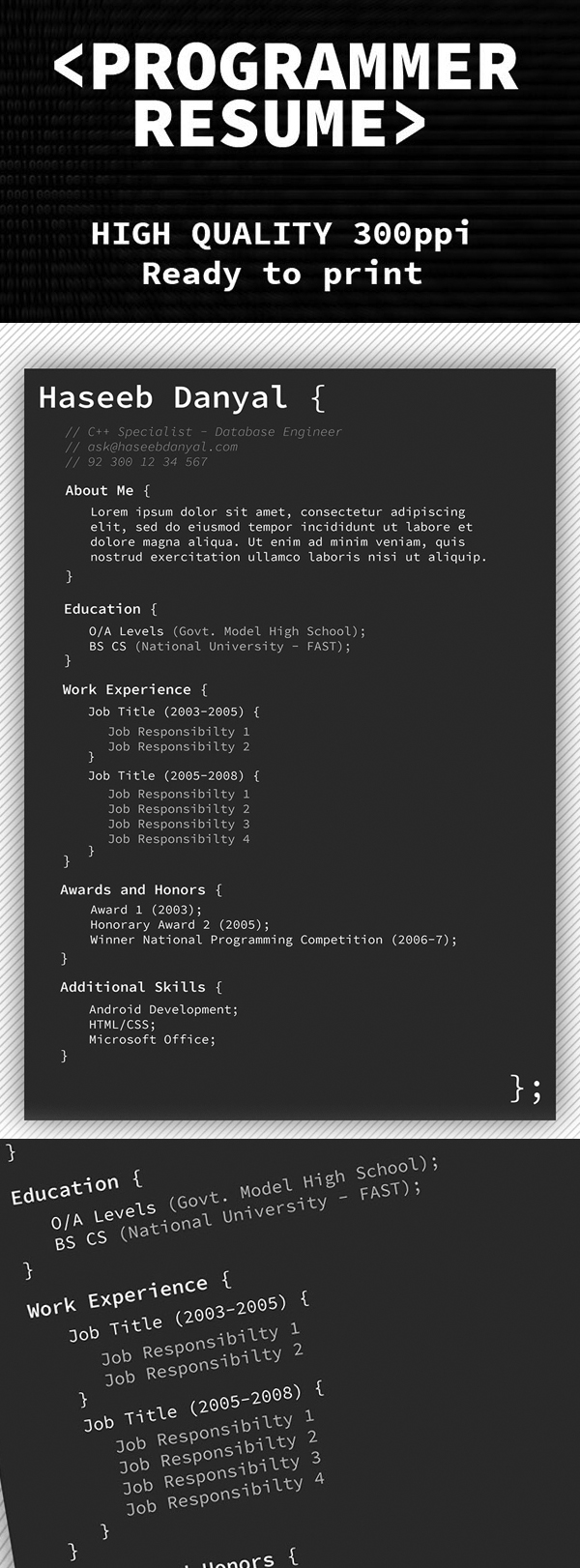 programmer resume psd template