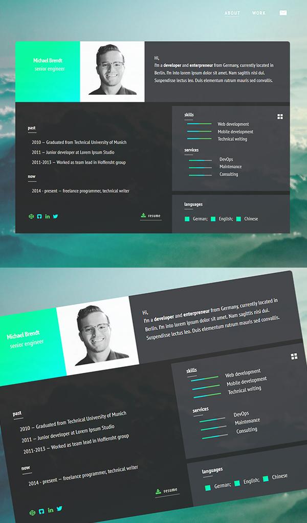 resume cv html5 template