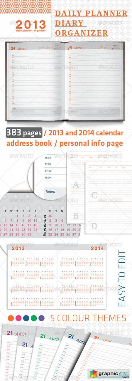 Daily Planner, Organizer and Diary 2013 » Free Download Vector Stock