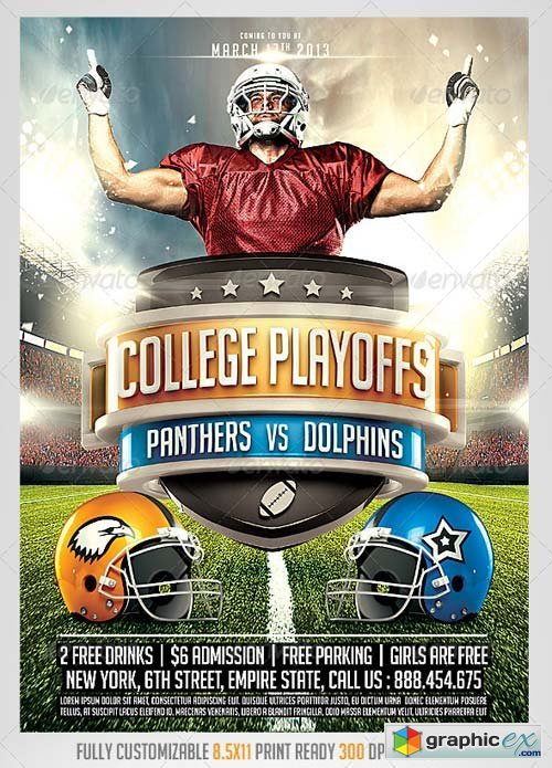 Football Big Game Flyer Template » Free Download Vector Stock Image - football flyer template free