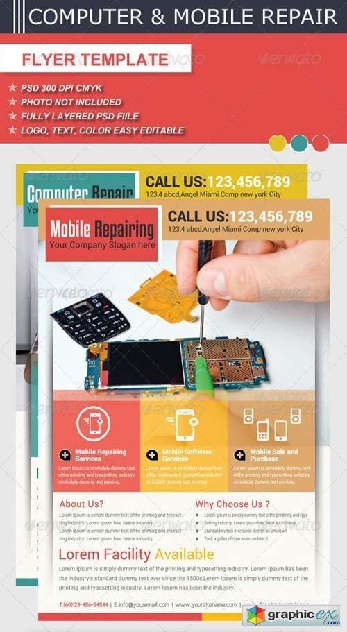 Computer  Mobile Repair Flyer Template » Free Download Vector Stock - computer repair flyer template