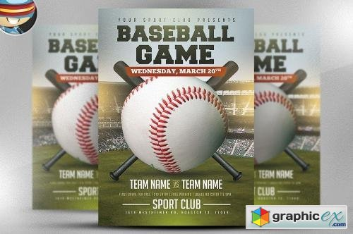 Baseball Flyer Template 2 » Free Download Vector Stock Image