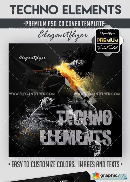 Techno Elements Premium CD Cover PSD V17 Template » Free Download