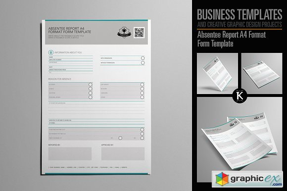 Absentee Report A4 Format » Free Download Vector Stock Image