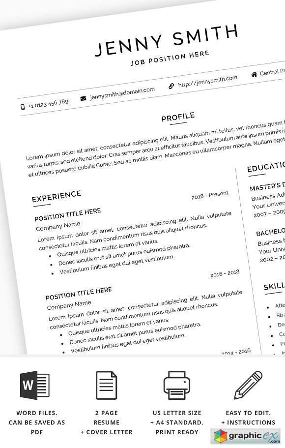 Resume Template Word Modern Clean CV 2389712 » Free Download Vector