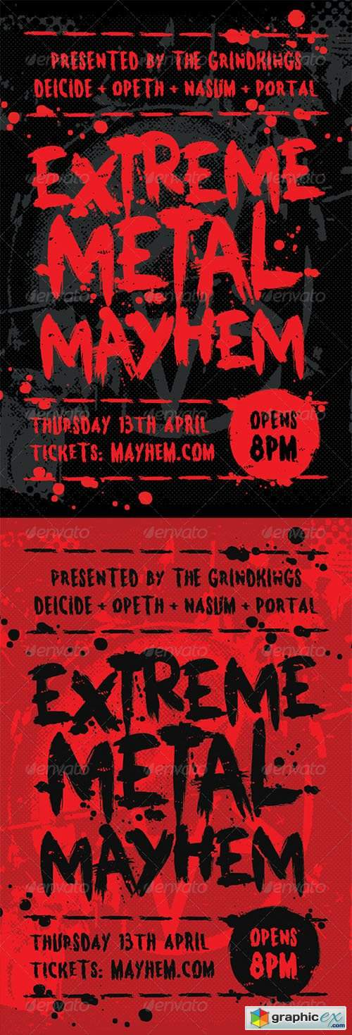 Mayhem - Heavy Metal Flyer Template » Free Download Vector Stock