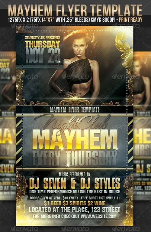 Flyer Templates - GraphicRiver Mayhem Flyer Template GraphicFlux
