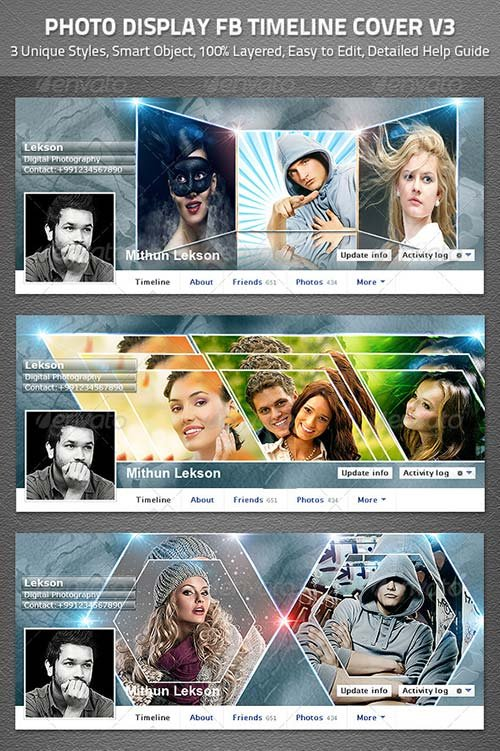 facebook timeline cover template psd for photoshop - Minimfagency - facebook collage template