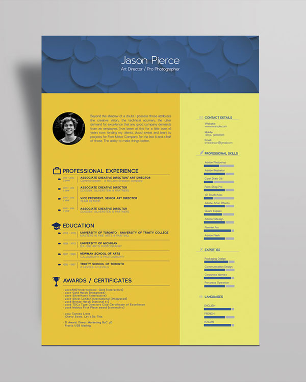 10+ Newest Free \ Premium Resume Templates For Graphic \ Web Designers - free cool resume templates