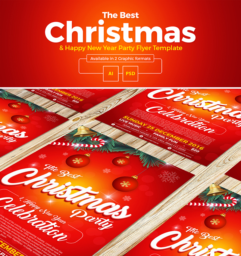 Free Christmas Party  Happy New Year Flyer Template - free new years eve flyer template