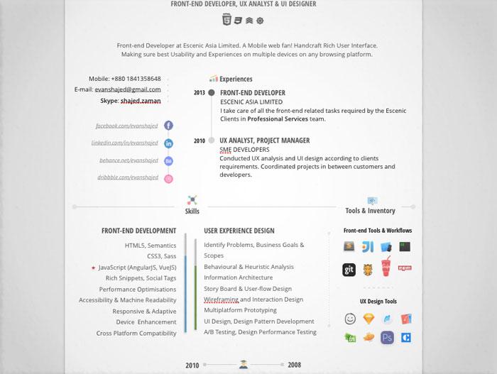 20 Creative  Simple Resume Templates For Designers
